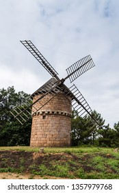 Perros-Guirec, France - July 30, 2018: Windmill of Crach at Clarte in Brittany