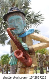 Perry Harvey Park, Tampa, Fl / United States of America - August 4, 2019: Gateway Sculptures