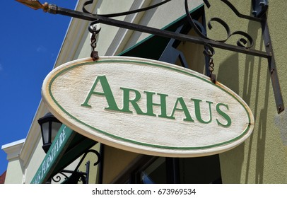PERRYSBURG, OH - JUN 25: A sign for Arhaus in Perrysburg, OH is shown here on June 25, 2017. Arhaus was founded in 1986.