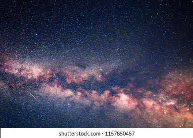 Perseid Meteor Shower Milky Way sky. Beautiful astronomy of twinkling stars and planets. Stars rotate over Earth. Star, Milky Way Galaxy Across the Night Sky.
