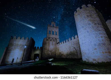 Perseid Meteor Shower and the Milky Way over castle in Avilla,SPain