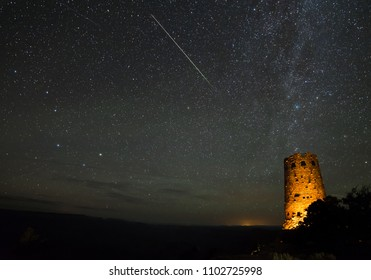 Perseid Meteors Over Desert View Watchtower, Grand Canyon National Park, Arizona, USA.