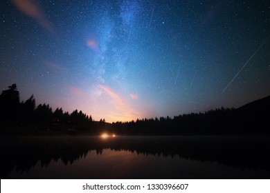 The Perseids, Meteor Shower Above The Lake