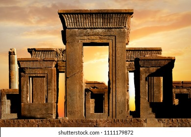 Persepolis - capital of the ancient Achaemenid kingdom. Ancient columns. Sight of Iran. Ancient Persia. Beautiful sunrise background.