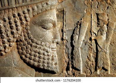 Persepolis is the capital of the ancient Achaemenid kingdom. Sight of Iran. Ancient Persia. Bas-relief carved on the walls of old palace.