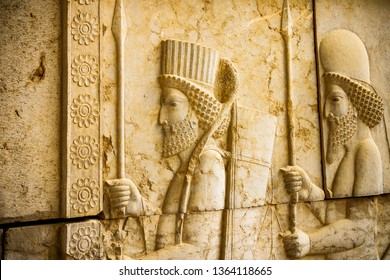 Persepolis is the capital of the ancient Achaemenid kingdom. sight of Iran. Ancient Persia. Bas-relief carved on the walls of old buildings