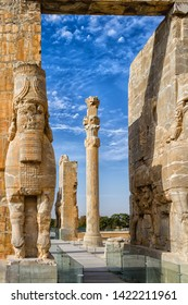 Persepolis was the ceremonial capital of the Achaemenid Empire. Persepolis is situated 60 km northeast of the city of Shiraz in Fars Province, Iran, Middle East, Asia