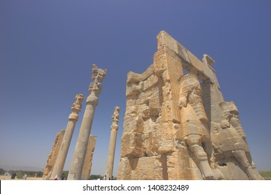 Persepolis, Iran _ April 18 2019. The ruins of Gate of All Nation in Persepolis, the ancient capital of old Persian, Achaemenid Empire in Fars Province, Iran.