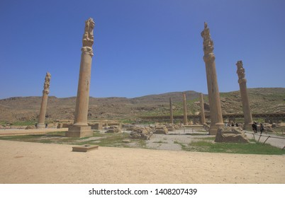 Persepolis, Iran - April 18 2019. The stone columns of ruins of Persepolis which is the capital of ancient Persian of the Achaemenid Empire in Fars Province of modern day Iran.