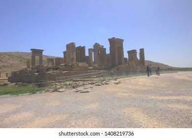 Persepolis, Iran - April 18 2019. The remaining ruins of Tachara or Darius Palace in Persepolis, the ancient capital of old Persian Achaemenid Empire in Fars Province, Iran.
