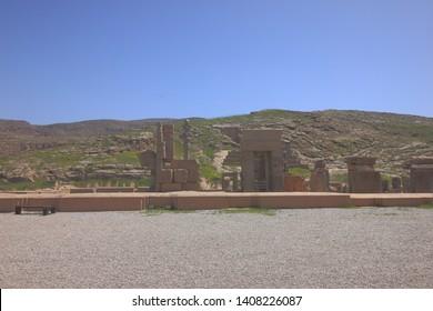 Persepolis, Iran - April 18 2019. Ruins in Persepolis, the ancient capital of old Persian Achaemenid Empire, in Fars Province, Iran.
