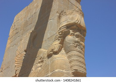 Persepolis, Iran - April 18 2019. Detail of Lamassu, the Assyrian deity at the Gate of All Nations in Persepolis, the ancient capital of old Persian Achaemenid Empire in Iran.