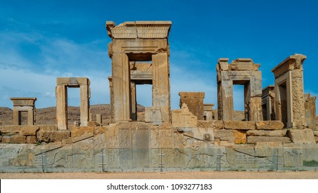 Persepolis, Iran - April 28, 2018: Persepolis was the ceremonial capital of the Achaemenid Empire ca. 550 330 BC It is situated 60 km northeast of the city of Shiraz in Fars Province, Iran