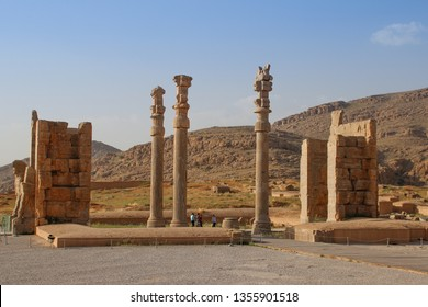 Persepolis, Iran - May 15, 2017: Walls of the ancient capital of Persia. Persepolis is the capital of the Achaemenid kingdom. sight of Iran. Ancient Persia. Bas-relief on the walls of old buildings.