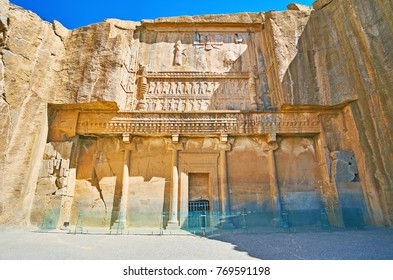 PERSEPOLIS, IRAN - OCTOBER 13, 2017: The facade of the ancient tomb of Artaxerxes III, located on the slope of Rahmet Mount, on October 13 in Persepolis.