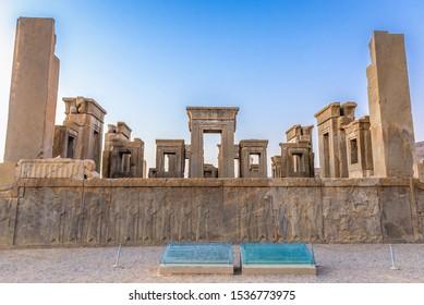 Persepolis, Iran - October 22, 2016: Tachara Palace (Darius the Great Palace) in ancient Persepolis, located in Fars Province