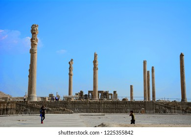 PERSEPOLIS, IRAN - SEPTEMBER 5: Ruins of the ancient Persian capital city at 5 September, 2018 at Persepolis, Iran. Persepolis is one of the most important historical site in the Middle East.