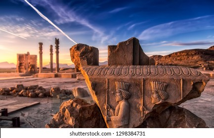 Persepolis (Old Persian: Pārsa) was the ceremonial capital of the Achaemenid Empire (ca. 550–330 BCE). It is situated 60 km northeast of the city of Shiraz in Fars Province, Iran.  - Shutterstock ID 1298384731