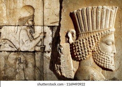 Persepolis.  Sight of Iran. Ancient Persia. Bas-relief carved on the walls of old palace.