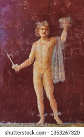 Perseus fresco with the head of Medusa in a Domus of Pompeii