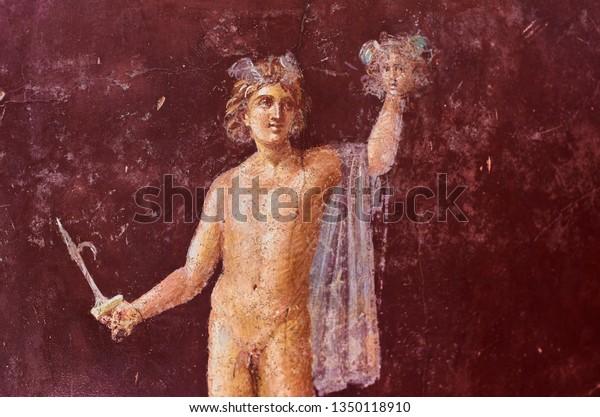 Perseus Fresco Head Medusa Domus Pompeii Stock Image