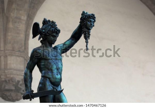 Perseus Head Medusa Cellini Piazza Della Stock Photo Edit