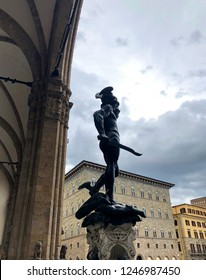 Perseus with the Head of Medusa in Loggia dei Lanzi, Signoria square, Florence, Italy.