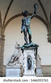Perseus with the Head of Medusa statue in the Loggia dei Lanzi (Loggia della Signoria)  in Florence, Italy