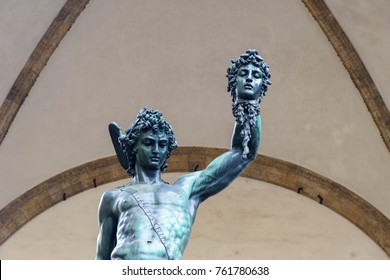 Perseus with the Head of Medusa statue in Loggia dei Lanzi florence italy