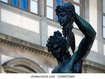Perseus with the head of the statue of Medusa (created by Benvenuto Cellini in 1545-1554) on the outskirts of Piazza della Signoria in Florence, Italy. An example of the Italian Renaissance culture.