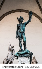 Perseus statue in florence Italy holding the head of Medusa (Historic and mythological statue)