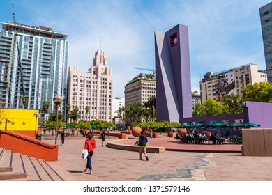 Pershing Square Park Los Angeles Downtown - CALIFORNIA, UNITED STATES - MARCH 18, 2019