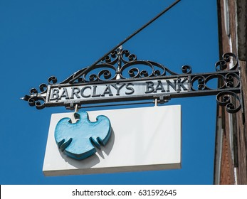 Pershore, UK - April 2017: An old fashioned Barclays Bank sign hanging outside the Pershore branch.