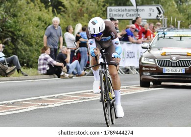 Pershore. Worcestershire. UK 12th/September/2019. French rider Tony Gallopin from team AG2R La Mondiale on the course during Stage Six an Individual Time Trial of the 16th Tour of Britain.