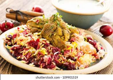 persian albaloo polo with sour cherries and chicken