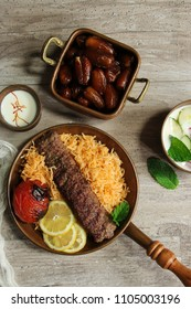 Persian Beef Kabab with Rice Dates saladand grilled Tomato / Ramadan Iftar  Food Kabob Koobideh