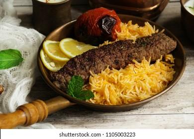 Persian Beef Kabab with Rice Dates saladand grilled Tomato / Ramadan Iftar  Food Kabob Koobideh