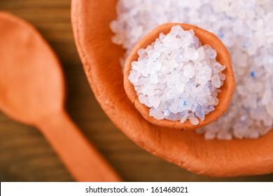 Persian Blue Iranian Crystal Rock salt in rustic clay bowls