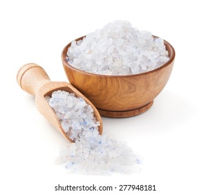 Persian blue salt in a wooden bowl isolated on white background