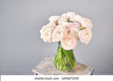 Persian buttercup in glass vases. Bunch pale pink ranunculus flowers light background. Wallpaper. Winter season flowers