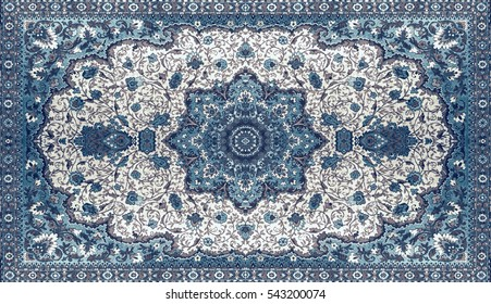 Persian Carpet Texture Abstract Ornament Round Mandala Pattern Middle Eastern Traditional Fabric