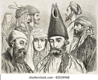 Persian men and woman old illustration. Created by Laurens, published on Le Tour du Monde, Paris, 1860