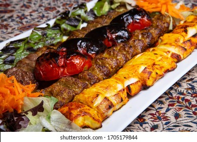 Persian Mix Kebab of minced meat and chicken.
