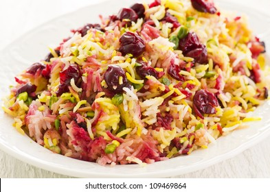 Persian saffron rice with cherries