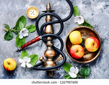 Persian shisha hookah with flavor apple for relax.Apple shisha.Autumn shisha menu