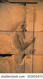 Persian soldier, detail, Apadana staircase,   (capital city of Persian empire, Darius ) Persepolis, Iran, Middle East