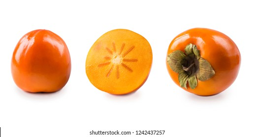 Persimmon with copy space for text. Orange ripe persimmon isolated on white background. Fresh persimmon on white. Persimmon fruit isolated on white background. Set of persimmons.