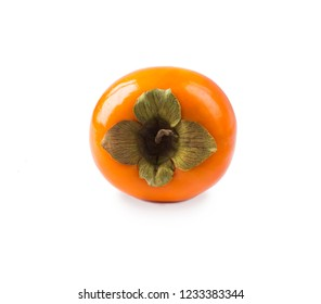 Persimmon with copy space for text. Ripe and tasty persimmon isolated on white background. Persimmon on a white background. Fresh persimmon isolated on white.