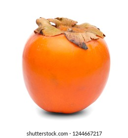 Persimmon fruit on white background.