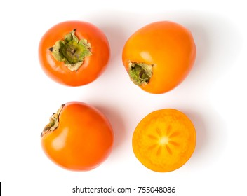 Persimmon fruit on white background, isolated. The view from the top
